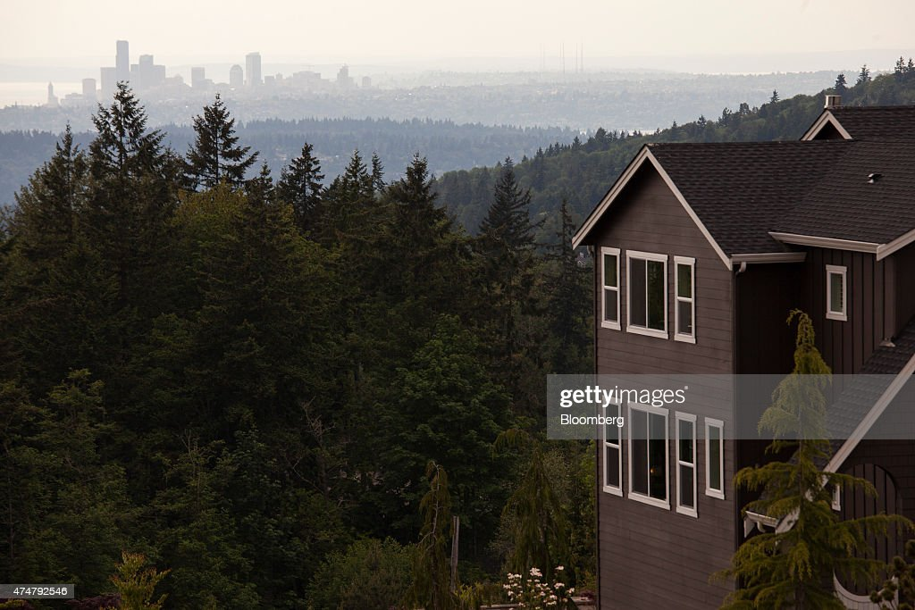 A view of Seattle is seen from the balcony of a Toll Brothers Inc house in the Belvedere housing development in Bellevue Washington US US on Thursday...