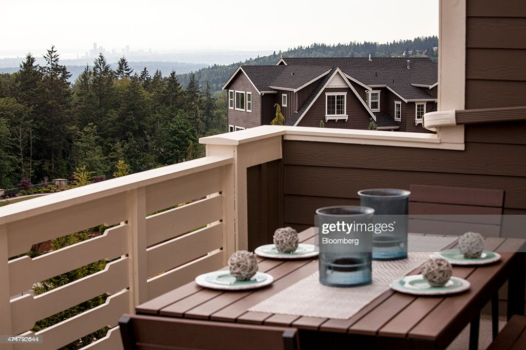A view of Seattle is seen from the balcony of a Toll Brothers Inc house in the Belvedere housing development in Bellevue Washington US on Thursday...