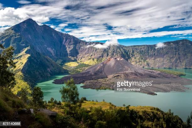 View of Segara Anak from the crater rim of Mt.Rinjani, Indonesia