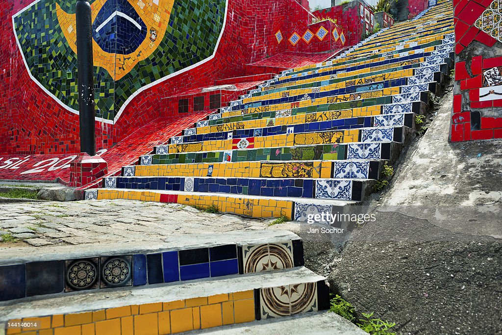 View Of Selaron S Stairs Escadaria Selarón A Colorful Mosaic Tile Stairway On