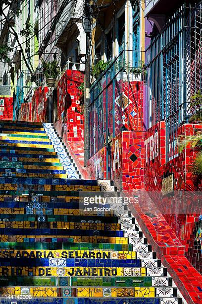 View of Selaron's Stairs a mosaic staircase made of colorful tiles in Rio de Janeiro Brazil 15 February 2012 Worldfamous staircase mostly covered by...