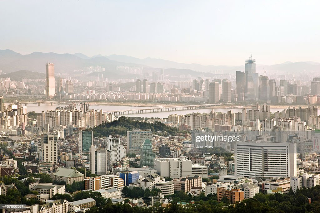 View of Seoul cityscape with Han river. : Stock Photo