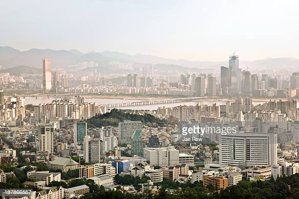 View of Seoul cityscape with Han river.