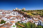 View of Setenil de las Bodegas village, one of the beautiful white villages (Pueblos Blancos) of Andalucia, Spain