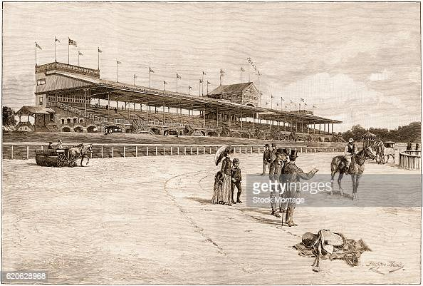 View of several people and a horses on the track prior to the opening of the New York Jockey Club's track West Chester Village New York New York 1889...