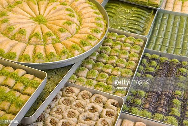 A view of several trays of Turkish sweets