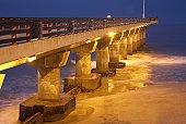 View of Shark Rock Pier at Night