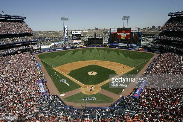 A view of Shea Stadium during the Opening Day game between the New York Mets and the Houston Astros at Shea Stadium on April 11 2005 in Flushing New...
