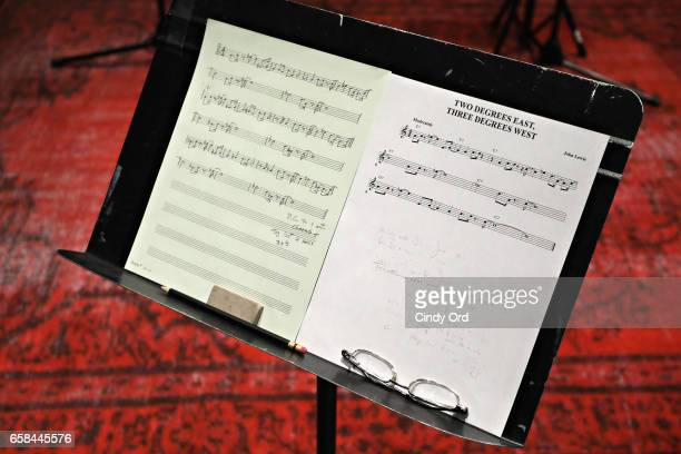 A view of sheet music as Wynton Marsalis and Jon Batiste perform the music of John Lewis at Spotify Studio for Jazz at Lincoln Center's Blue Engine...