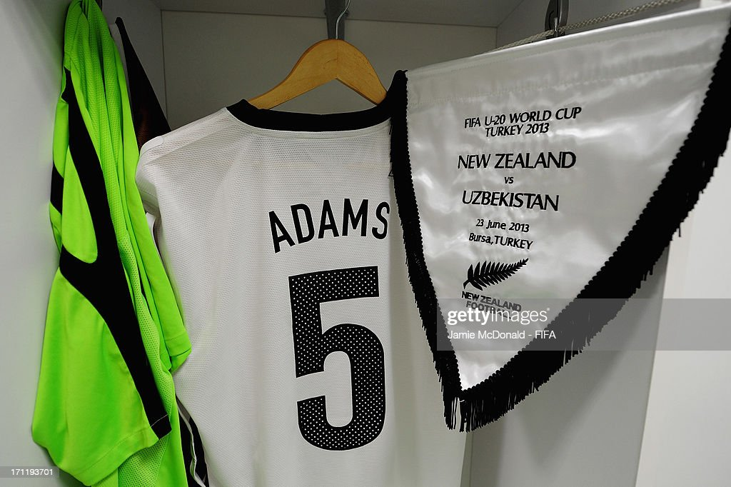 A view of shirts hanging in the New Zealand dressing room prior to the FIFA U-20 World Cup Group F match between New Zealand and Uzbekistan at the Ataturk Stadium on June 23, 2013 in Bursa, Turkey.