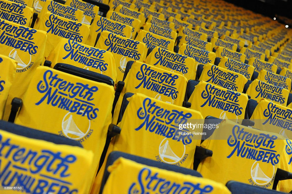 A view of shirts on the seats of the arena prior to Game Seven of the Western Conference Finals between the Golden State Warriors and the Oklahoma City Thunder during the 2016 NBA Playoffs at ORACLE Arena on May 30, 2016 in Oakland, California.