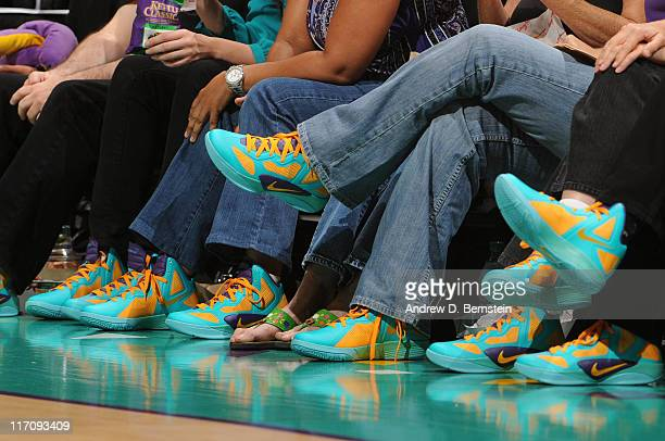 A view of shoes of fans during a game between the New York Liberty and the Los Angeles Sparks at Staples Center on June 21 2011 in Los Angeles...
