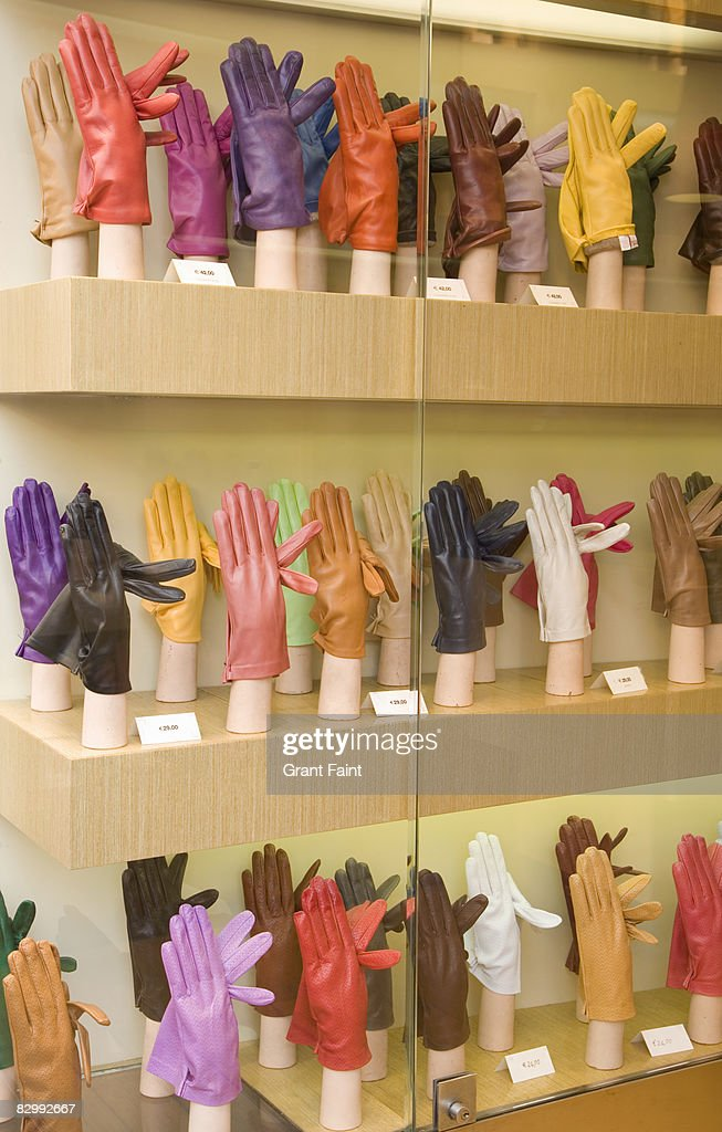 view of shop window display of gloves
