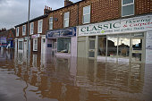A view of shops on Warwick Road where rescue workers continue to evacuate people from their homes after Storm Desmond caused flooding on December 7...