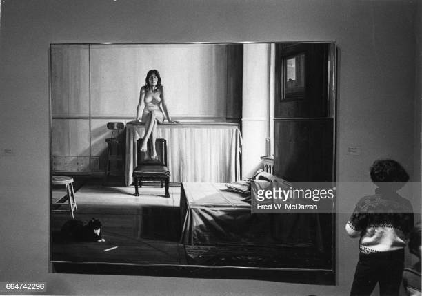 View of Sidney Goodman's painting 'Room 318' on display during the Whitney Biennial New York New York January 27 1973