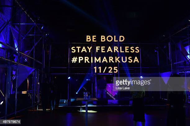 View of signage by stage and runway during Keke Palmer Refinery29 Host Club Primania Event at Skybox Event Center on November 19 2015 in Philadelphia...