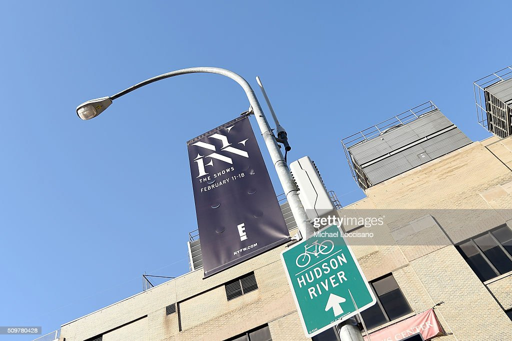 A view of signage during New York Fashion Week: The Shows at Clarkson Sq on February 12, 2016 in New York City.