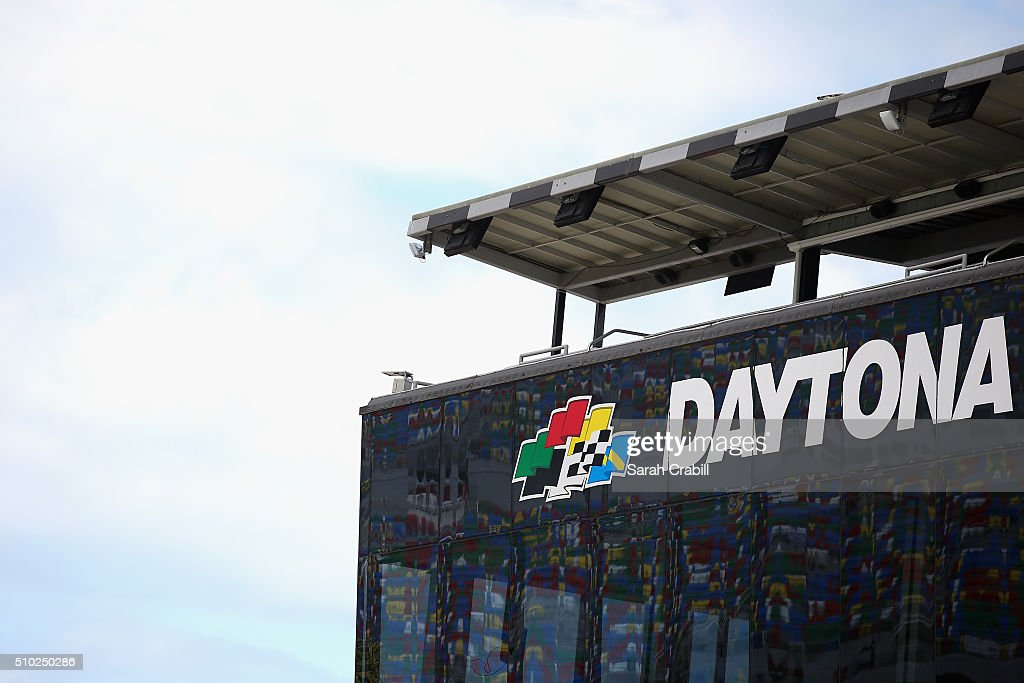 A view of signage during qualifying for the NASCAR Sprint Cup Series Daytona 500 at Daytona International Speedway on February 14, 2016 in Daytona Beach, Florida.