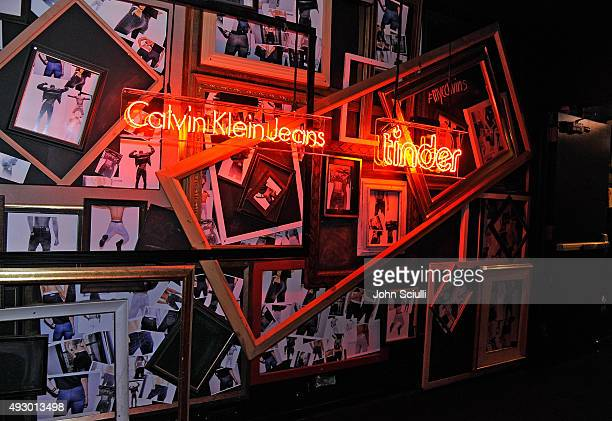 A view of signage during the Calvin Klein Jeans hosted music event in Los Angeles to celebrate the fall 2015 ad campaign at The Lyric Theatre on...
