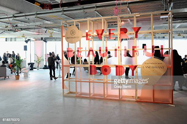 A view of signage on display during Refinery29's Every Beautiful Body Symposium at Brookfield Place on October 26 2016 in New York City