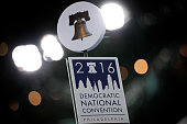 A view of signage on top of a delegate microphone stand at the Democratic National Convention at the Wells Fargo Center July 23 2016 in Philadelphia...