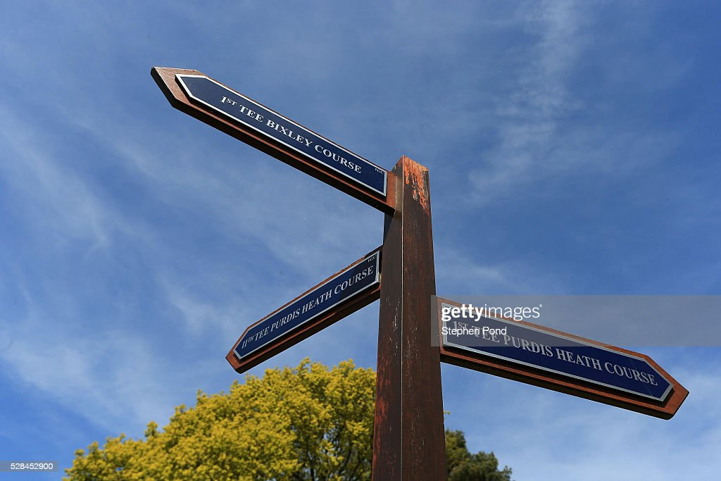 A view of signs on the course during the PGA Assistants Championship East Qualifier at Ipswich Golf Club on May 5, 2016 in Ipswich, England.