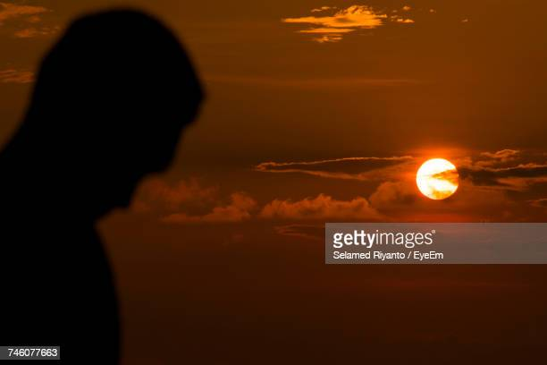 View Of Silhouette Person At Sunset