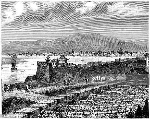'View of SiNganFou' China 19th century Possibly a depiction of the imperial city of Chang'an now known as Xi'an capital of Shaanxi province