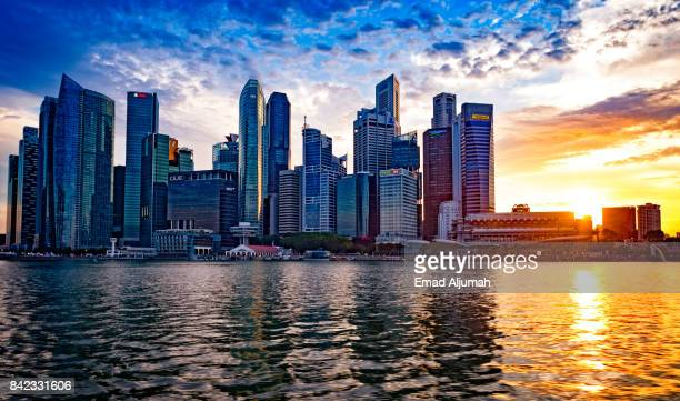 View of Singapore downtown at sunset, Singapore - August 19, 2017