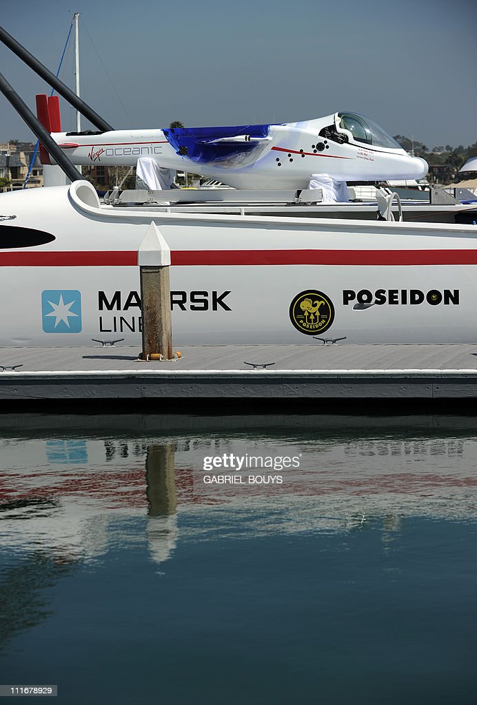 View of Sir Richard Branson and explorer Chris Welsh's Virgin's Oceanic during a press conference in Newport Beach, California on April 5, 2011 to announce plans to take a solo piloted submarine to the deepest points in each of the wolrd's five oceans. The five dives will take place in the Mariana Trench (Pacific Ocean), Puerto Rico Trench (Atlantic Ocean), Diamantina Trench (Indian Ocean), South Sandwich Trench (Southern Ocean) and Molloy Deep (Arctic Ocean). Virgin's Oceanic's first dive will be to the Mariana Trench later in 2011 and a futher four dives are scheduled over the next 24 months.