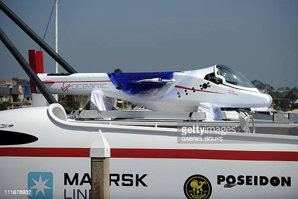 View of Sir Richard Branson and explorer Chris Welsh's Virgin's Oceanic during a press conference in Newport Beach California on April 5 2011 to...
