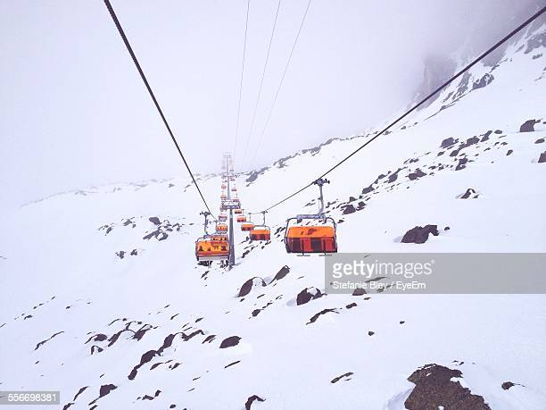 View Of Ski Lifts In Snowy Valley