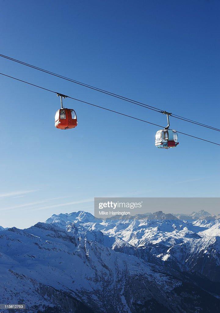 View Of Ski Lifts Over La Plagne Mountains