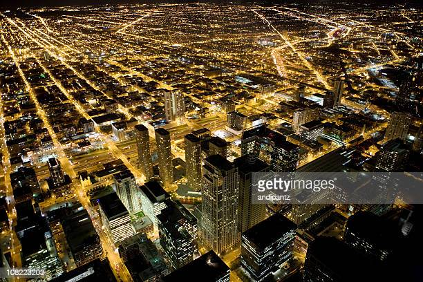 View of Skyline Chicago Downtown and Suburbs at Night