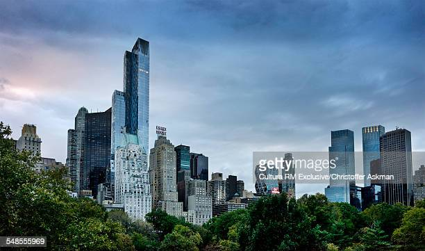 View of skyline from Central Park, New York, USA