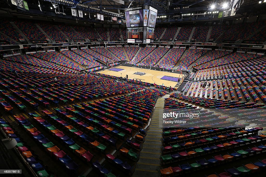 A view of Sleep Train Arena with T-shits wrapped over the seats on Bollywood Night of the game between the Los Angeles Lakers and Sacramento Kings on April 2, 2014 at Sleep Train Arena in Sacramento, California.