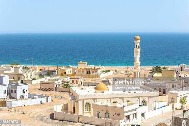 View of small coastal town near Sur, Oman