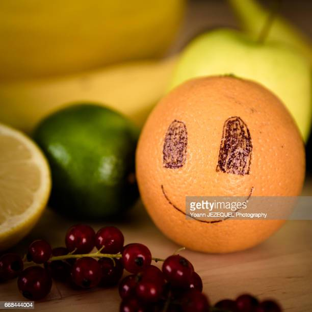 View of Smiling Fruits on Table