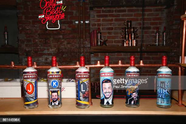 A view of Smirnoff bottles painted with Jimmy Kimmel and New York City imagery during the Jimmy Kimmel Live Welcome to Brooklyn kickoff hosted by...