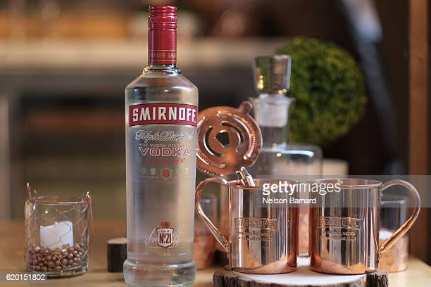 A view of Smirnoff Moscow Mule copper cups at the 2016 New York Taste presented by Citi hosted by New York Magazine on November 1 2016 in New York...