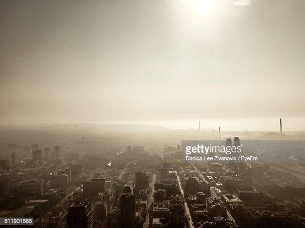 View of smog over city