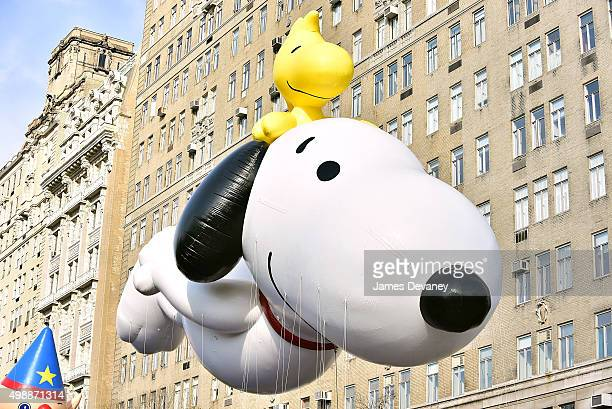 View of Snoopy and Woodstock balloon at the 89th Annual Macy's Thanksgiving Day Parade on November 26 2015 in New York City