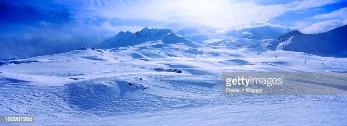 View of snow covered mountain range : Stock Photo