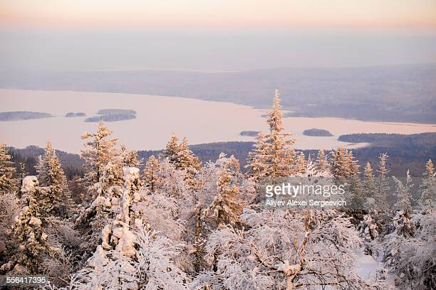 View of snow covered tee tops and distant lake, Nizhniy Tagil, Sverdlovsk Region, Russia