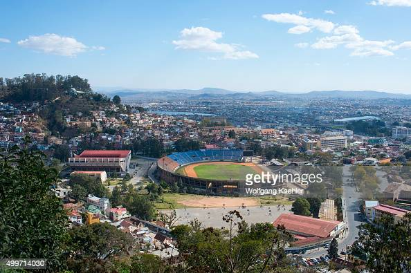 View of soccer stadium in Antananarivo the capital city of Madagascar
