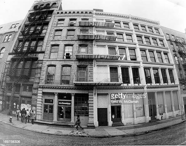 View of Soho buildings on the east side of West Broadway between Prince and Spring streets New York New York mid to late 1970s The West Broadway...