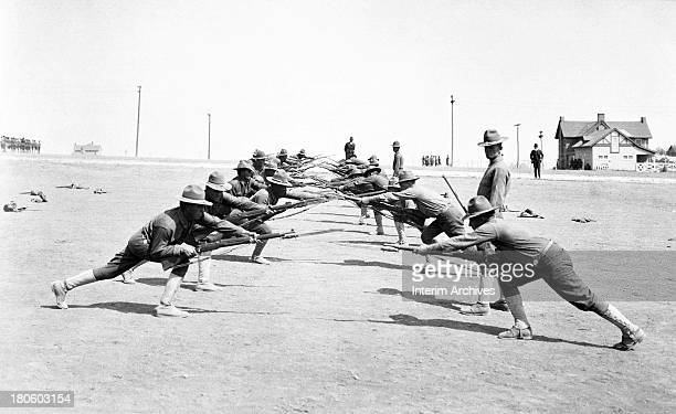 View of soldiers conducting bayonet practice at Camp Bowie Fort Worth Texas 1918