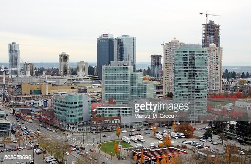 View of some Burnaby highrises and of Metropolis at Metrotowm Mall. : Stock Photo