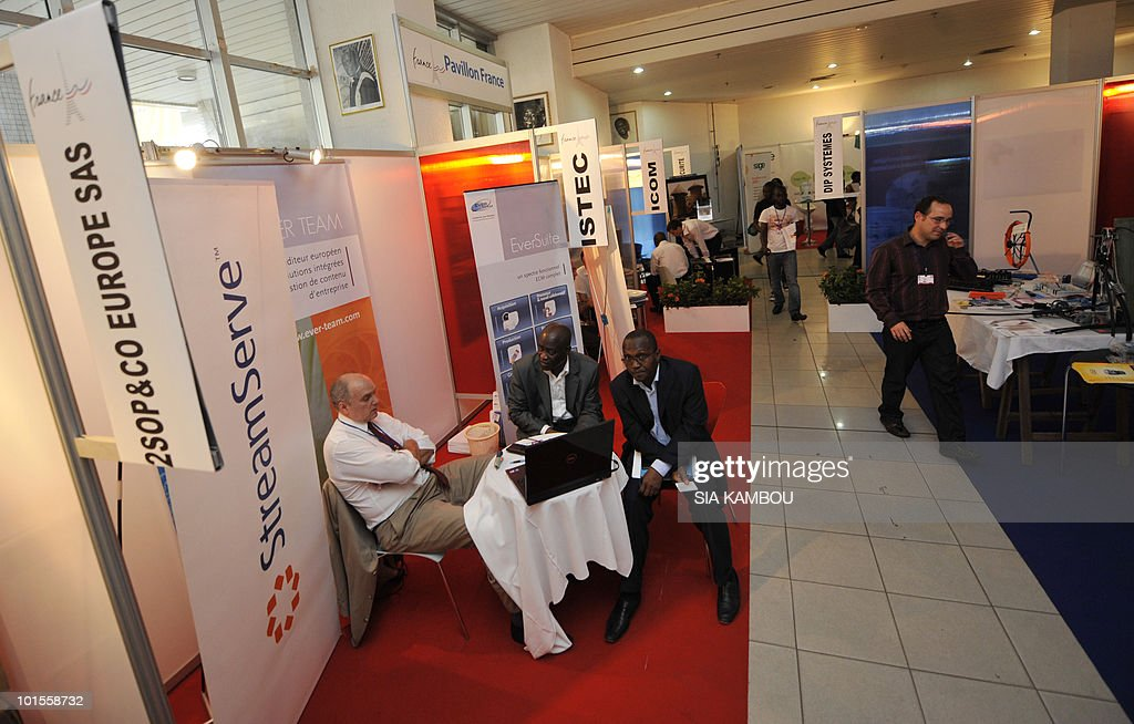 A view of some of the French stands where French products are displayed at the French pavillon during a trade show held in the framework of the 11th edition of the Technical and Communication Fair held at the Culture showroom in Abidjan on June 02, 2010.