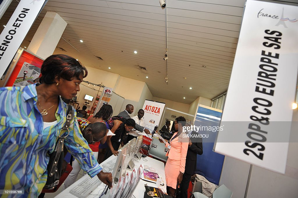 A view of some of the French stands where French products are displayed at the pavillon from France during a trade show held in the framework of the 11th edition of the Technical and Communication Fair held at the Culture showroom in Abidjan on June 02, 2010.